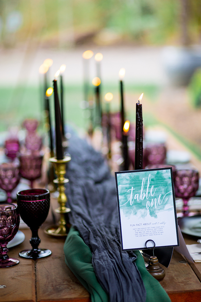 Dark candles, dark purple glassware and watercolor emerald cards are cool