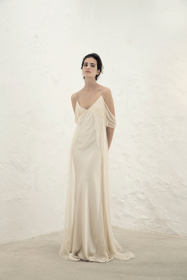 Silk gown with tulle inserts looks very flowing and light, and silk is timeless