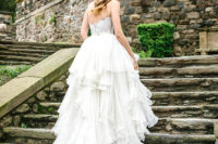 03 The bride was wearing a beaded corset and a ruffle skirt and looked like a real princess