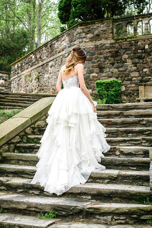 The bride was wearing a beaded corset and a ruffle skirt and looked like a real princess