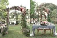 03 The wedding setting is done with vintage touches and lush summer flowers