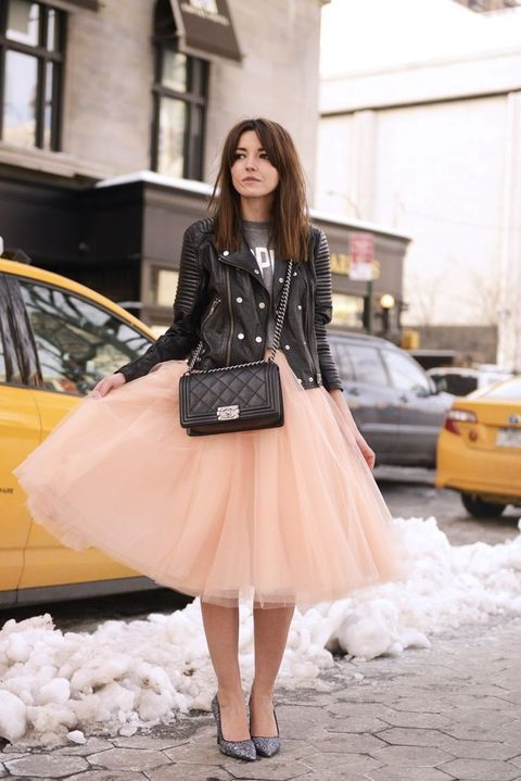 blush tutu, a sweatshirt and a leather jacket