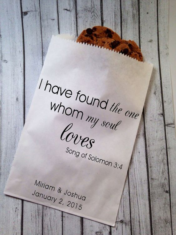 Cookie Wedding Favors With Favorite Quotes Printed On The Package