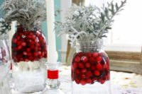 03 mason jars filled with water, dumped fresh cranberries and Dusty Miller