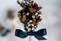 03 pinecone boutonniere with a bow