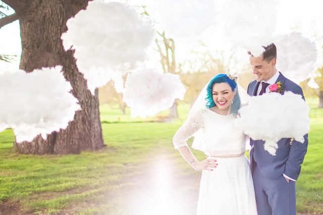 The authors created a fluffy clouds installation specially for the shoot
