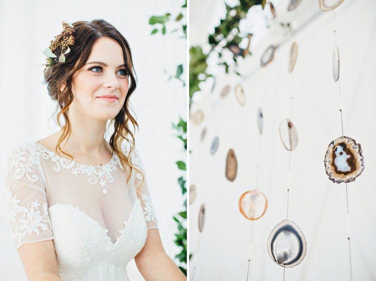 The bride was wearing a greenery half-crown and a simple yet stylish updo