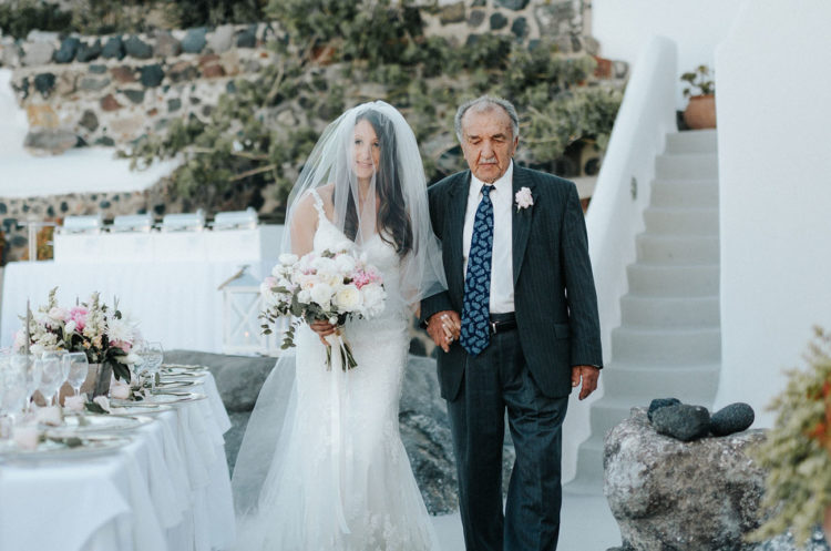 The bride's old grandfather led her to the altar, that was her wish