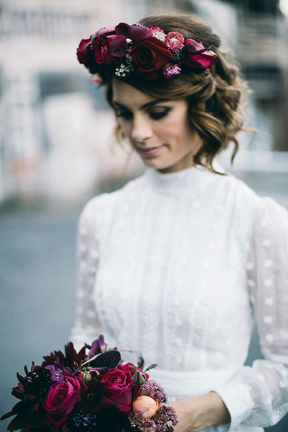 lush jewel-toned flower crown to make a bold statement