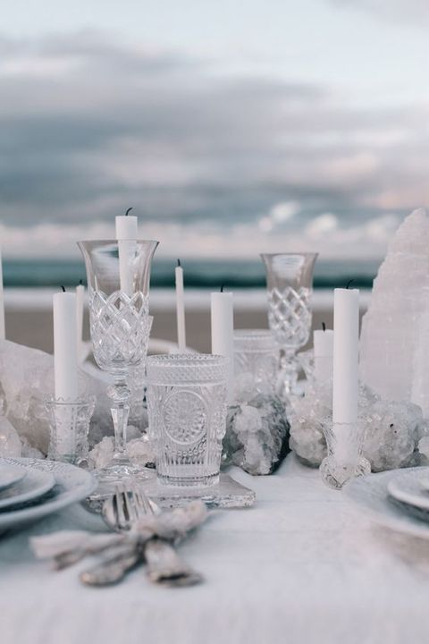 sea salt crystals and white candles will create a mood