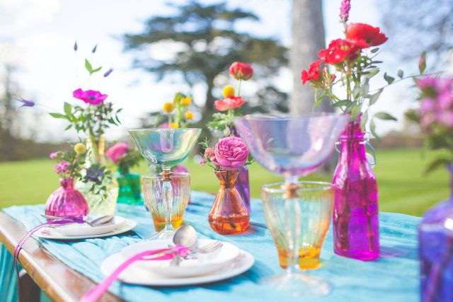 Jewel tones were used for decor, vases, glasses and so on