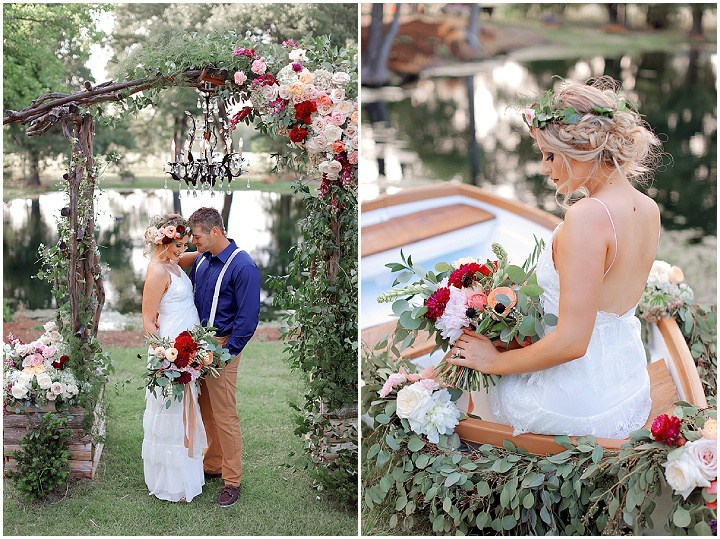 The Wedding Arch Was Decorated With A Crystal Chandelier For Charming Look