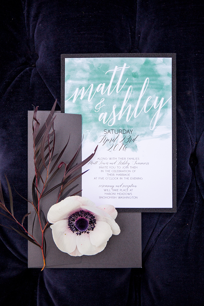 The wedding stationery was done in emerald and brown to keep the color scheme