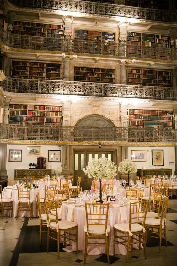 antique library becomes a sohpisticated venue for a wedding