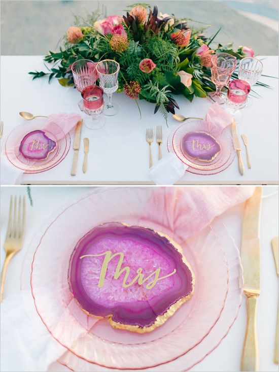 bold pink and purple geode place cards with a gilded edge