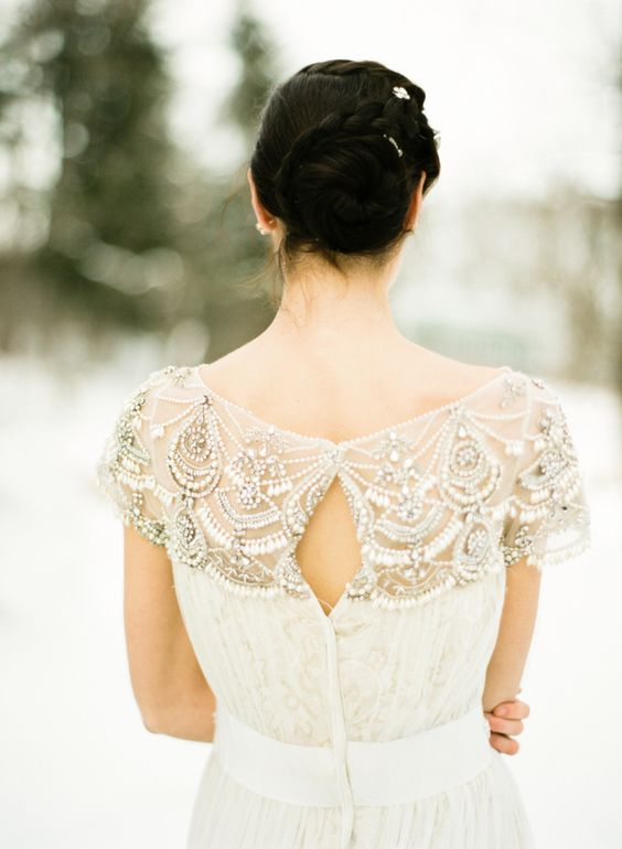 braided bun is a great wedding hairstyle for winter