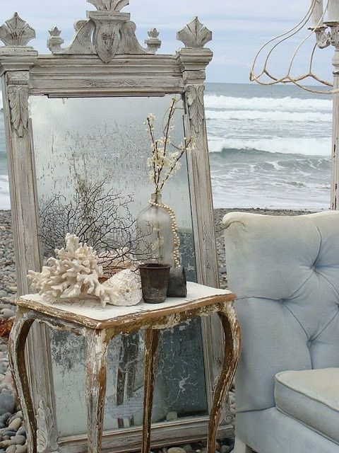Wintry Seaside Decor With A Vintage Mirror And Cs