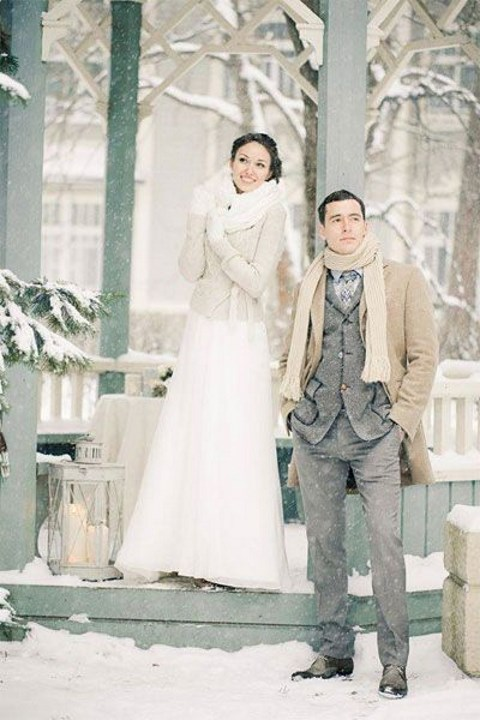 your groom will be happy to wear a scarf and a coat for taking outdoor shots