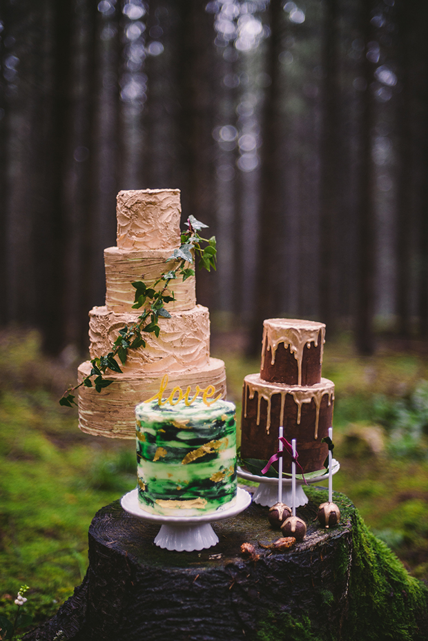 A selection of drip wedding cakes highlights that it's a woodland wedding