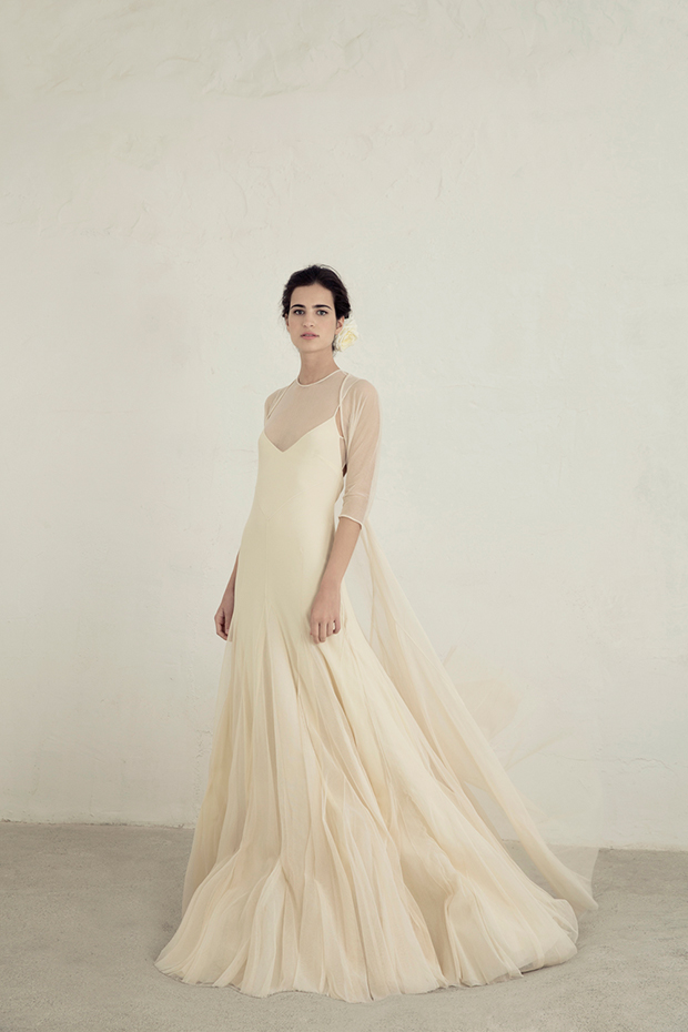 Illusion neckline dress of tulle and satin with a tulle bolero