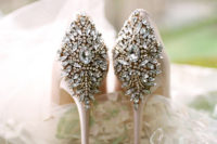 06 Jeweled heels in blush are a great addition to the princess-styled look