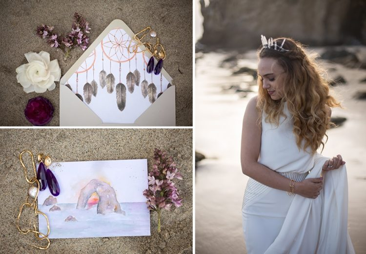 The bride rocked a trendy bridal separate and a gorgeous crystal crown, boho-inspired jewelry made up her outfit