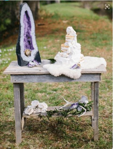 decorate your dessert table with a large geode to make a statement