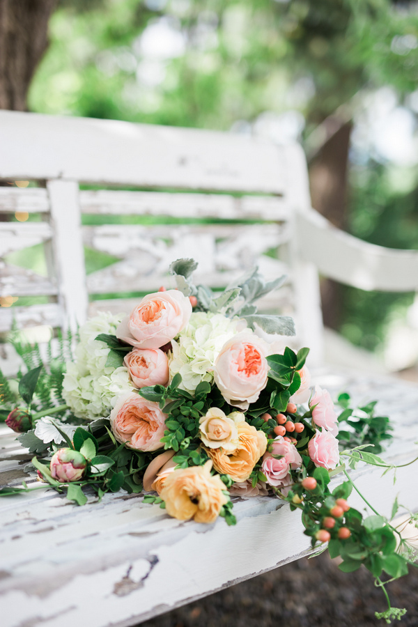 Lush florals in spring shades create a cool mood and a romantic ambience