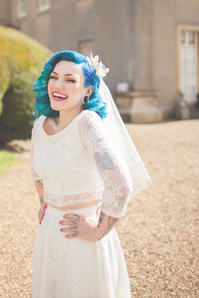 The bride was rocking a stunning bridal separate, which is a trendy alternative to a usual dress