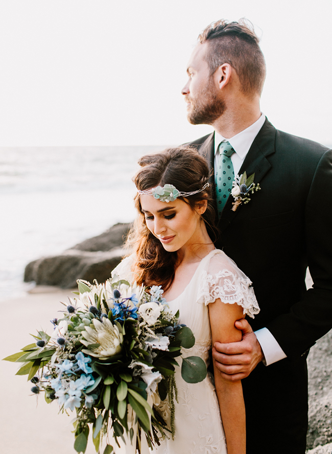 The bride was wearing statement sea glass jewelry