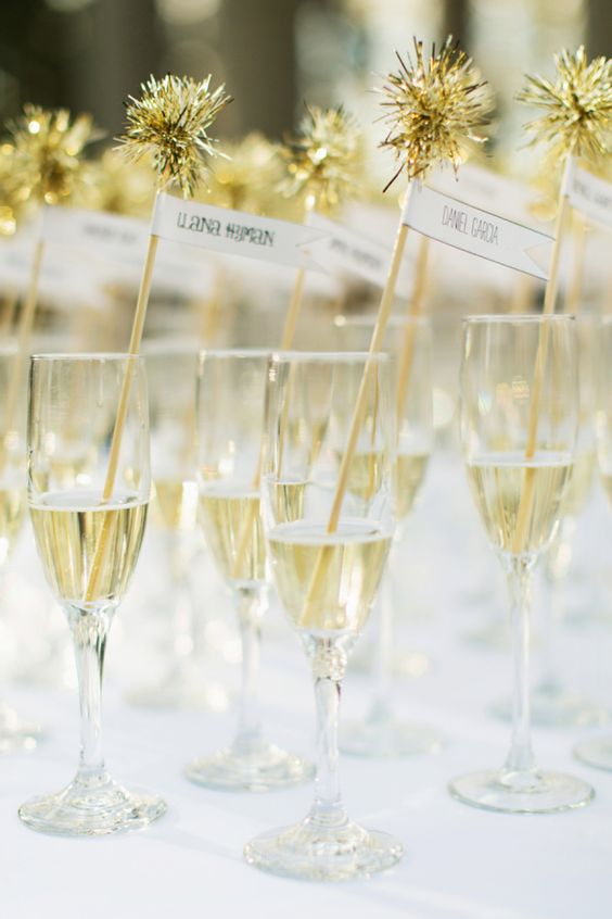 champagne toasts with sparkling stirrers
