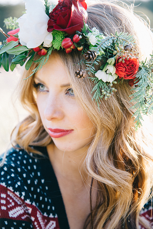 fir branches, berries, pinecones and roses crown for a rustic bride