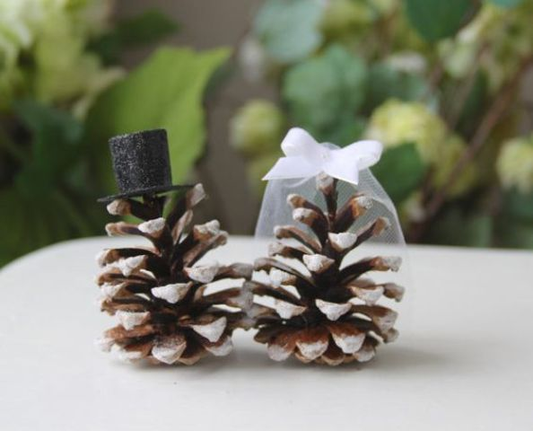 snowy pinecone cake toppers are a fine alternative to usual ones