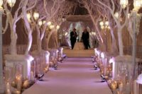 07 wedding aisle lined with trees, faux snow and candles