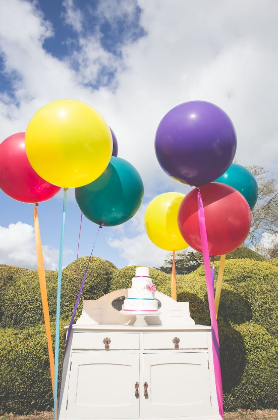 Bold big balloons added an airy touch to the shoot and kept the color scheme