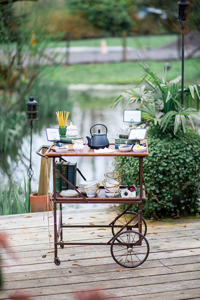 Vintage tea cart is a cool idea instead of a dessert table