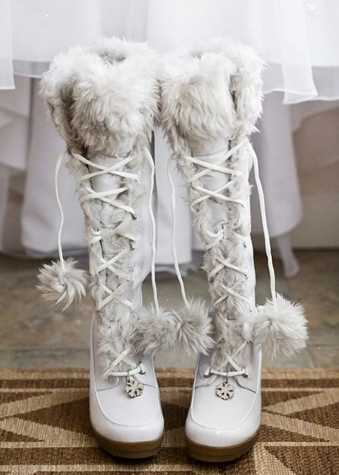 cute white boots with snowflakes