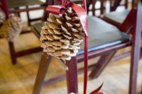 08 large pinecones on ribbon for wedding aisle decor