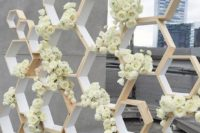 08 refined white honey comb backdrop with flowers