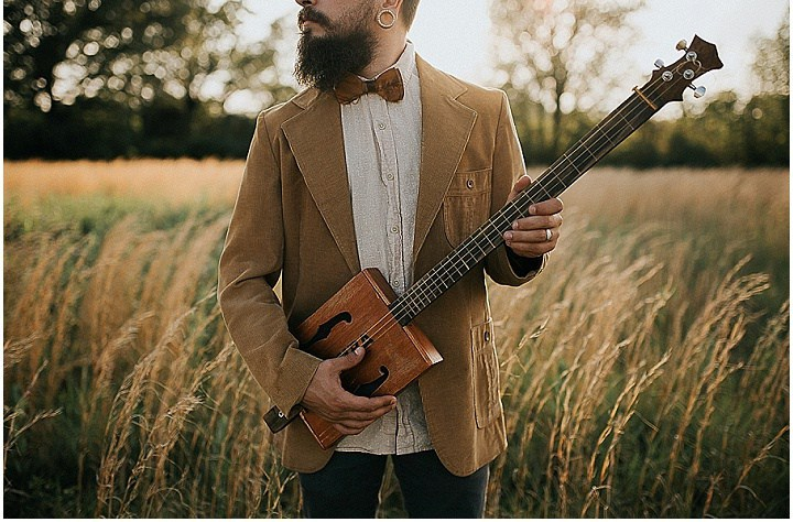 An ocher jacket looks contrasting with a modern styled beard