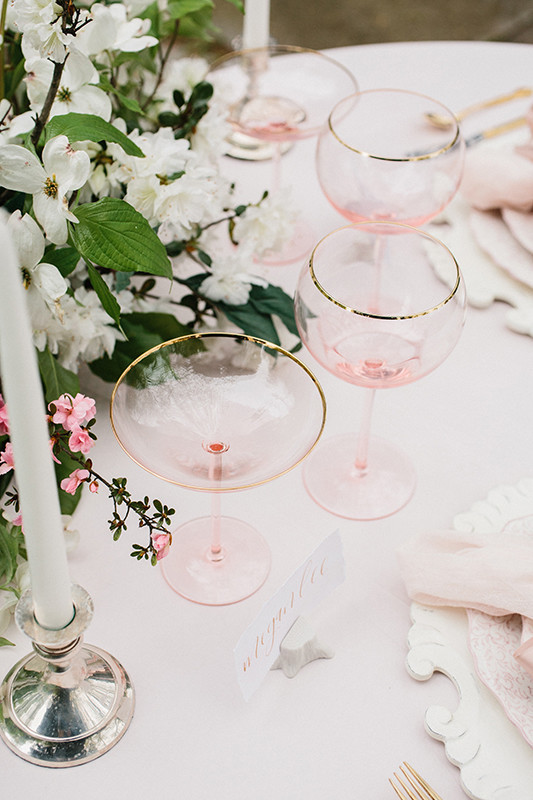 Blush glassware with gilded edges and a blush tablecloth are ideal for this shoot