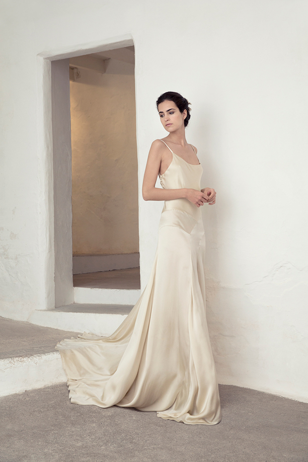 Cortana bridal collection for boho and modern brides for Ivory silk wedding dresses