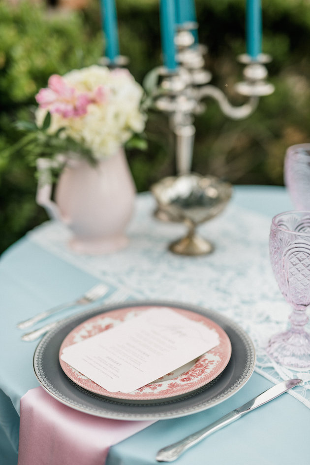 Rose quartz fabric and dishes were a perfect fir for the table setting
