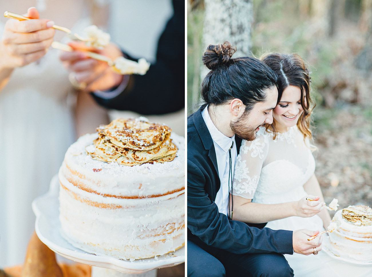 The naked cake was dusted with powdered sugar and almonds and topped with pancakes