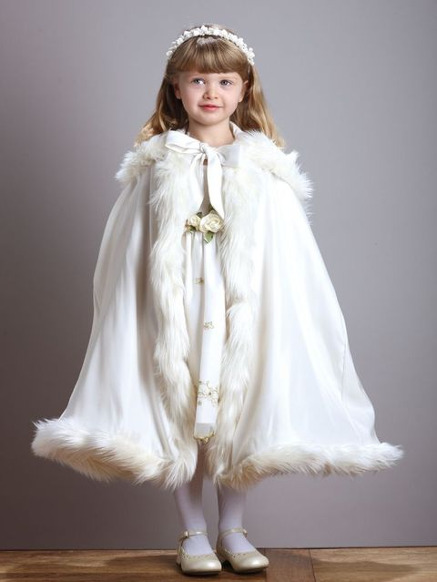 fur cape with ribbon for the flower girl is a very romantic idea