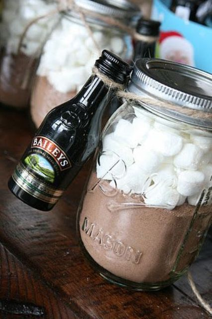 hot chocolate jars with mini Bailey's bottles for warming up
