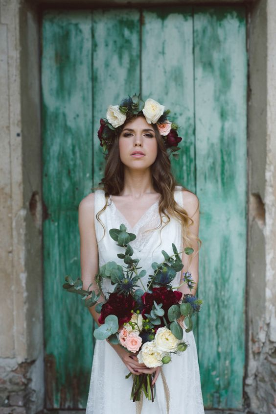 rose flower crown in marsala, blush and white with green leaves for a moody bride