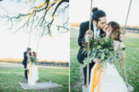 10 The greenery bridal bouquet with yellow ribbon coordinated with all the decorations perfectly