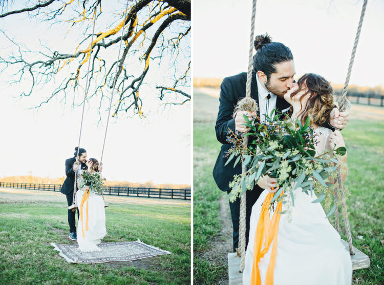 The greenery bridal bouquet with yellow ribbon coordinated with all the decorations perfectly