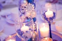 10 blue and silver winter wonderland centerpiece with ornaments